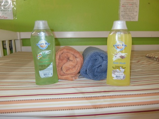 Complementary fresh linens and towel; soap and shampoo